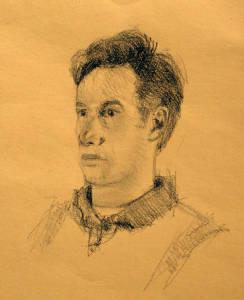 Scott, graphite on toned paper