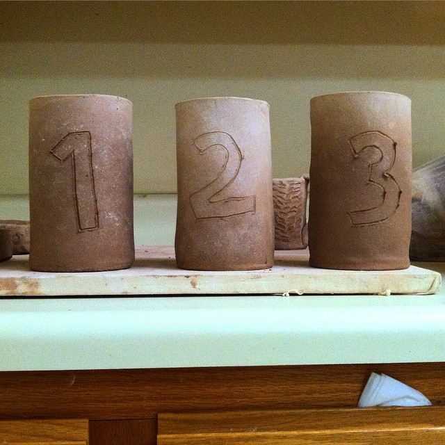 'Green' pottery drying for the upcoming mobile amagama firing down in Seagrove.  Thanks to @brookeyd84 for guidance and @brucegholson & @samanthahenneke for the opportunity to try my hand at ceramics.  Funds from purchased pieces support the Dwight Holland Student Scholarship.